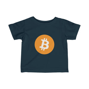Infants Navy Blue TShirt With Orange and White Bitcoin Logo