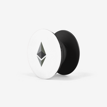 Load image into Gallery viewer, Black Ethereum Popsockets With Black and Grey Ethereum Logo Side View