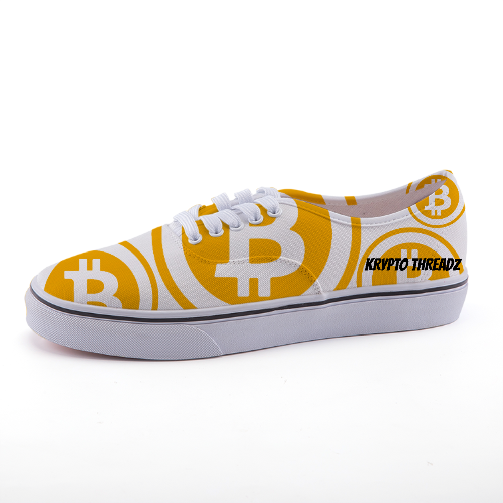 White Canvas Shoes With Orange Bitcoin Logo Pattern