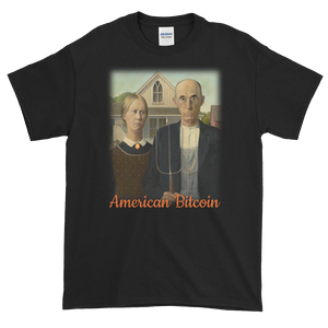 Black Short Sleeve T-Shirt With American Bitcoin Design