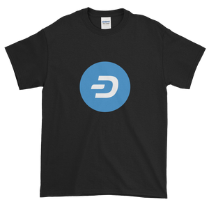 Black Short Sleeve T-Shirt With Blue and White Dash Logo