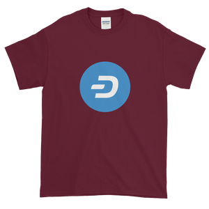 Maroon Short Sleeve T-Shirt With Blue and White Dash Logo