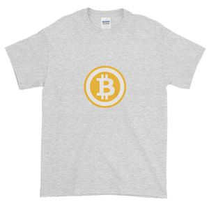Ash Short Sleeve T-Shirt with White and Orange Bitcoin Logo