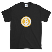 Load image into Gallery viewer, Black Short Sleeve T-Shirt with White and Orange Bitcoin Logo