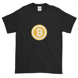 Black Short Sleeve T-Shirt with White and Orange Bitcoin Logo
