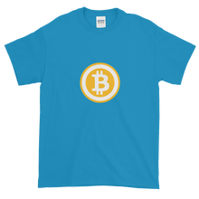 Load image into Gallery viewer, Sapphire Blue Short Sleeve T-Shirt with White and Orange Bitcoin Logo