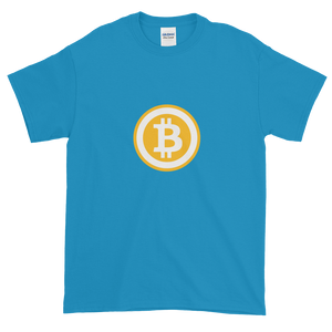 Sapphire Blue Short Sleeve T-Shirt with White and Orange Bitcoin Logo