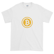 Load image into Gallery viewer, White Short Sleeve T-Shirt with White and Orange Bitcoin Logo
