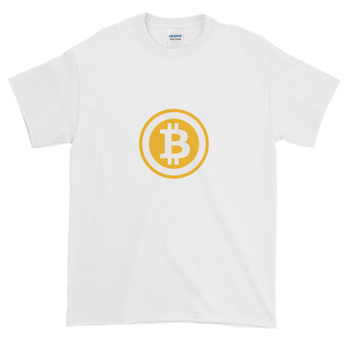 White Short Sleeve T-Shirt with White and Orange Bitcoin Logo