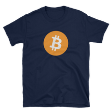 Load image into Gallery viewer, Navy Blue Short Sleeve T-Shirt with White and Orange Bitcoin Logo