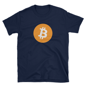 Navy Blue Short Sleeve T-Shirt with White and Orange Bitcoin Logo