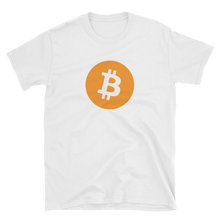 Load image into Gallery viewer, White Short Sleeve T-Shirt with Orange Bitcoin Logo