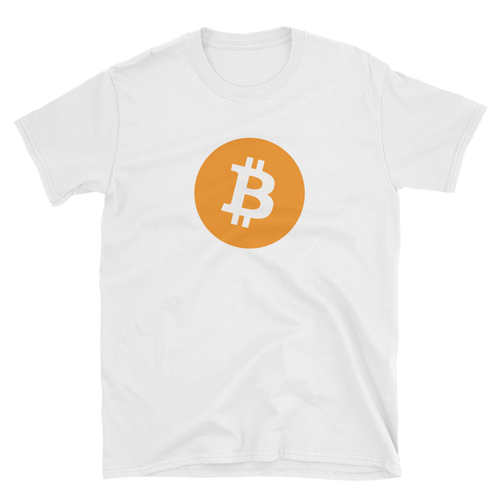 White Short Sleeve T-Shirt with Orange Bitcoin Logo