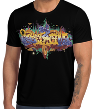 Load image into Gallery viewer, Black Short Sleeve T-Shirt With Bitcoin Design in Graffiti