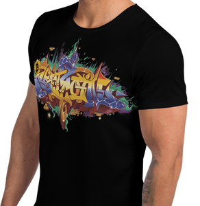Black Short Sleeve T-Shirt With Bitcoin Design in Graffiti