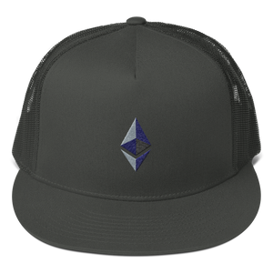 Charcoal Grey Cotton Mesh Snapback With Embroidered Ethereum Diamond
