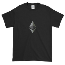 Load image into Gallery viewer, Black Short Sleeve T-Shirt With Black and Grey Ethereum Diamond
