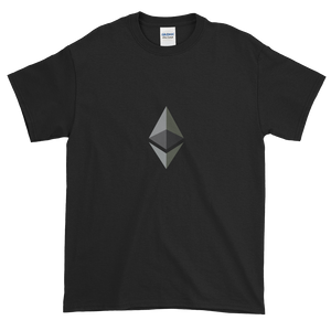 Black Short Sleeve T-Shirt With Black and Grey Ethereum Diamond