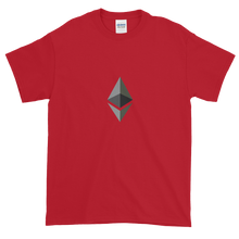 Load image into Gallery viewer, Red Short Sleeve T-Shirt With Black and Grey Ethereum Diamond