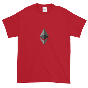 Red Short Sleeve T-Shirt With Black and Grey Ethereum Diamond