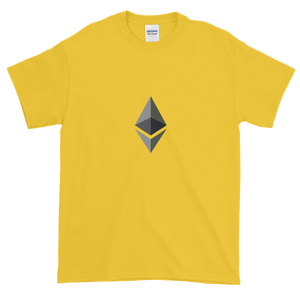 Yellow Short Sleeve T-Shirt With Black and Grey Ethereum Diamond