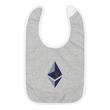 Load image into Gallery viewer, Grey Baby Bib With Black Grey Embroidered Ethereum Diamond