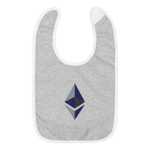 Grey Baby Bib With Black Grey Embroidered Ethereum Diamond