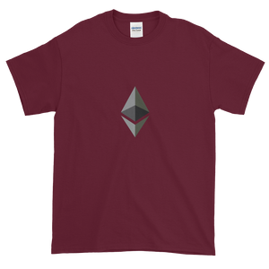 Maroon Short Sleeve T-Shirt With Black and Grey Ethereum Diamond