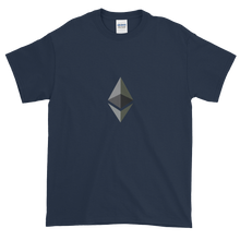 Load image into Gallery viewer, Navy Blue Short Sleeve T-Shirt With Black and Grey Ethereum Diamond