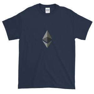 Navy Blue Short Sleeve T-Shirt With Black and Grey Ethereum Diamond