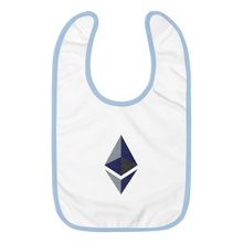 Load image into Gallery viewer, White Baby Bib With Blue Trim and Black Grey Embroidered Ethereum Diamond