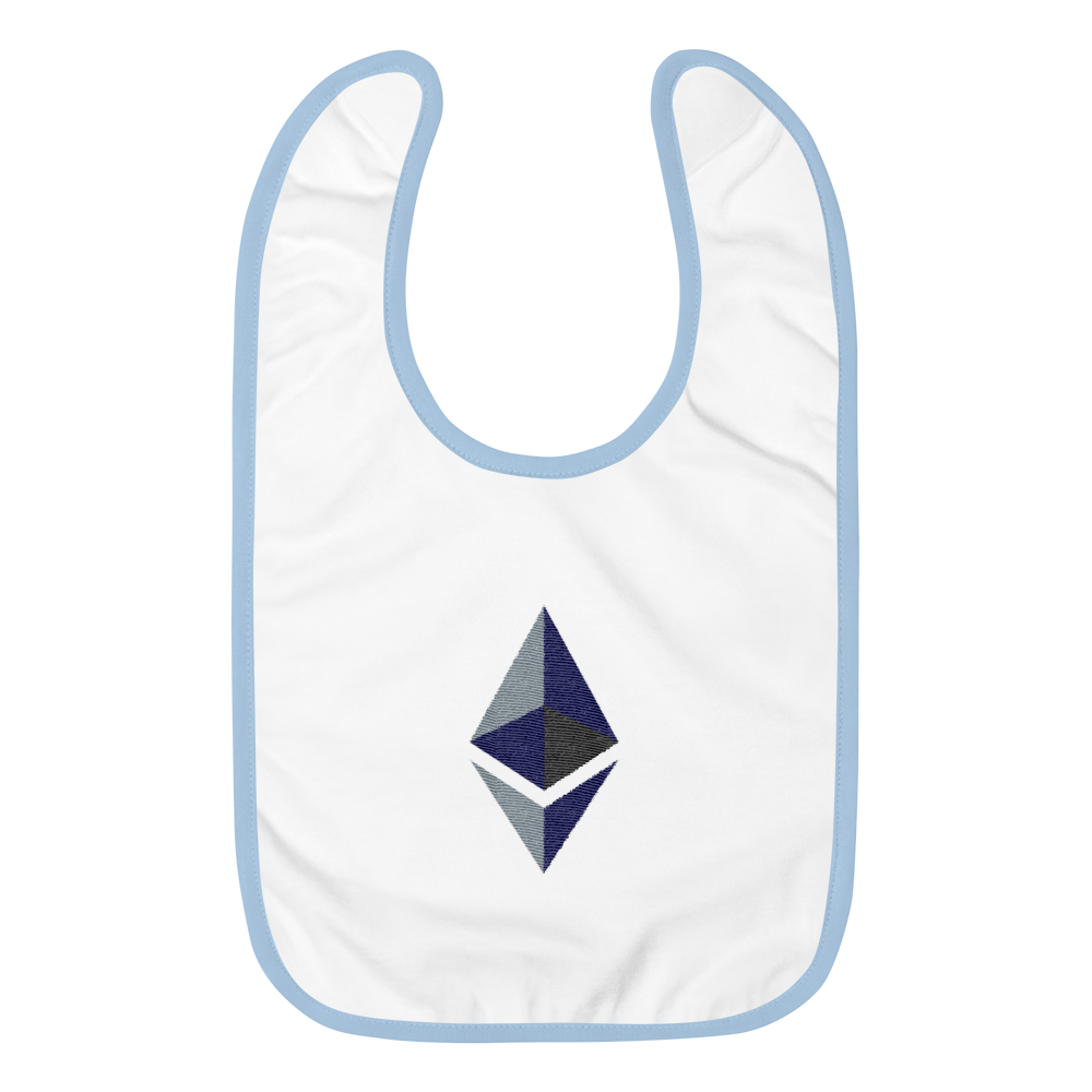 White Baby Bib With Blue Trim and Black Grey Embroidered Ethereum Diamond