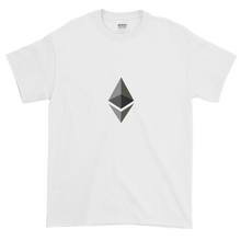 Load image into Gallery viewer, White Short Sleeve T-Shirt With Black and Grey Ethereum Diamond