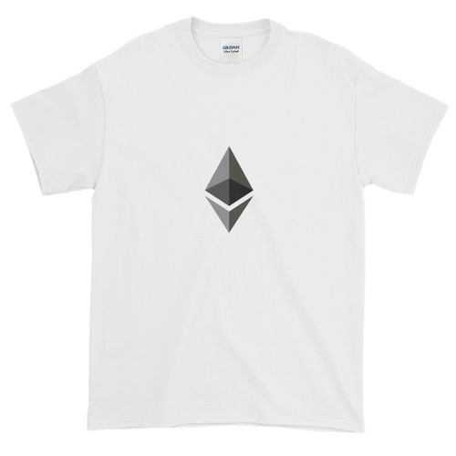 White Short Sleeve T-Shirt With Black and Grey Ethereum Diamond