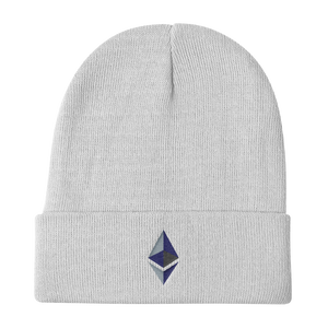 Black Beanie With Embroidered Ethereum Diamond Logo