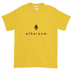 Yellow Short Sleeve T-Shirt With Black Ethereum Logo