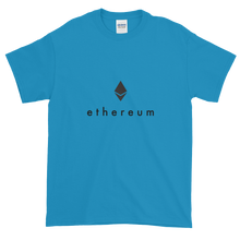 Load image into Gallery viewer, Sapphire Blue Short Sleeve T-Shirt With Black Ethereum Logo