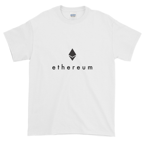 White Short Sleeve T-Shirt With Black Ethereum Logo