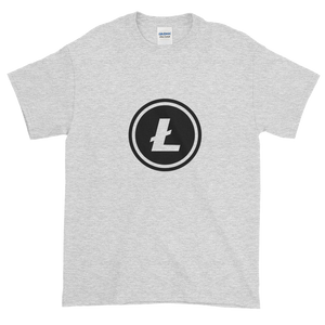 Ash Short Sleeve T-Shirt With Black Litecoin Logo