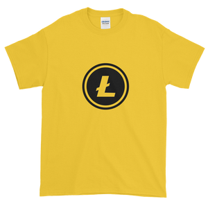 Yellow Short Sleeve T-Shirt With Black Litecoin Logo