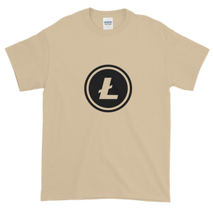 Sand Short Sleeve T-Shirt With Black Litecoin Logo