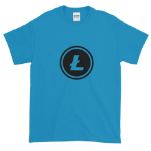 Load image into Gallery viewer, Blue Short Sleeve T-Shirt With Black Litecoin Logo