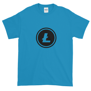 Blue Short Sleeve T-Shirt With Black Litecoin Logo