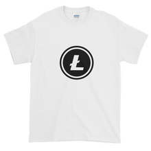 Load image into Gallery viewer, White Short Sleeve T-Shirt With Black Litecoin Logo