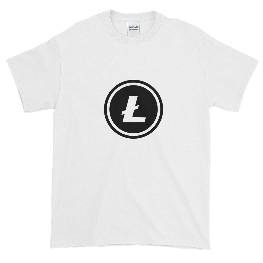 White Short Sleeve T-Shirt With Black Litecoin Logo