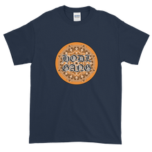 Load image into Gallery viewer, Navy Blue Short Sleeve T-Shirt With Orange and Black HODL GANG Logo