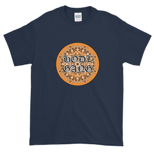 Navy Blue Short Sleeve T-Shirt With Orange and Black HODL GANG Logo