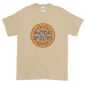 Sand Short Sleeve T-Shirt With Orange and Black HODL GANG Logo