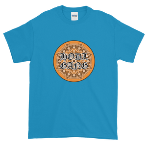 Sapphire Blue Short Sleeve T-Shirt With Orange and Black HODL GANG Logo