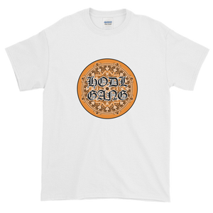 White Short Sleeve T-Shirt With Orange and Black HODL GANG Logo